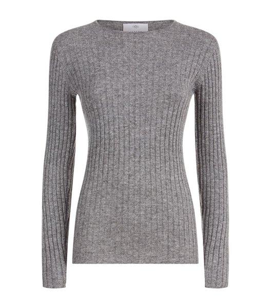 Maglione di cachemire ribbed grigio nuovo per le donne Vendita Online 596